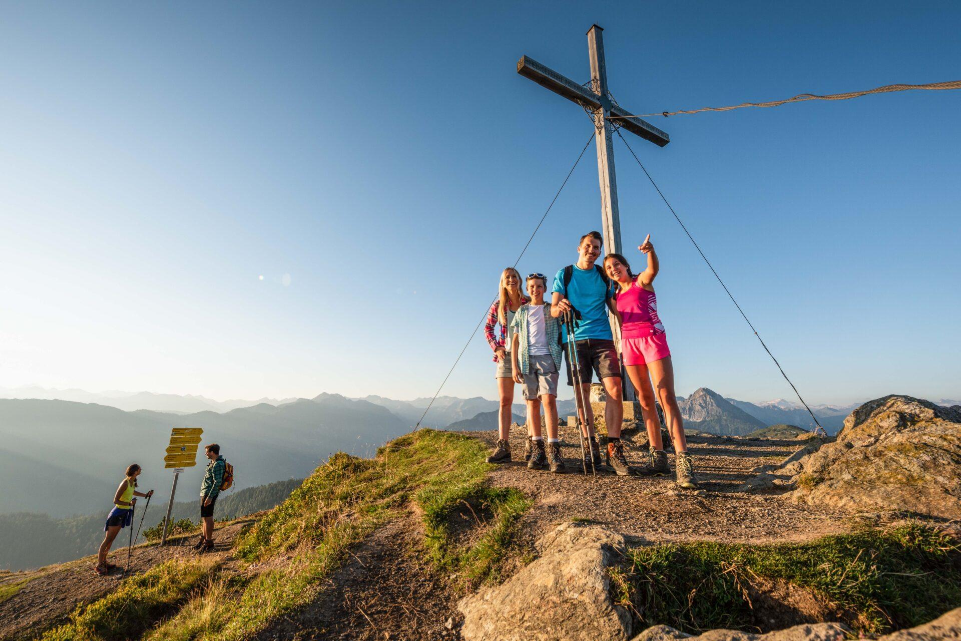Family hike on summer vacation in Flachau